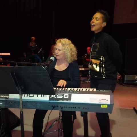 """Learning from one of the greatest that's ever done it!!! Pinch me!  w/ Carole King at #KCABlackBall rehearsal!""  Photo Credit: Alicia Keys Facebook"