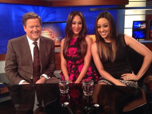 "Tamera and Tia chatting with KTLA anchor Sam Rubin about ""Let's Bubble"" initiative.  Photo Credit: Tamera Mowry's Twitter page"
