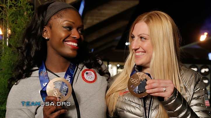Aja Evans and team mate Jamie Greubel flaunting their bronze medals. Image Credit: www.teamusa.org