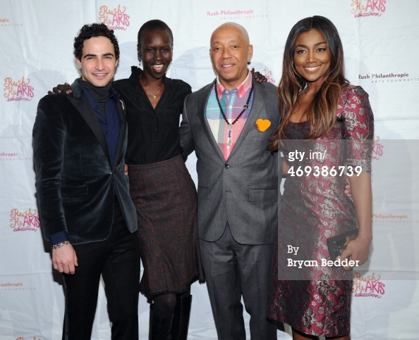 Russell Simmons joined by Zac Posen, Alek Wek and Patina Miller, all honorees at the HeARTS Valentine's Day Foundation.