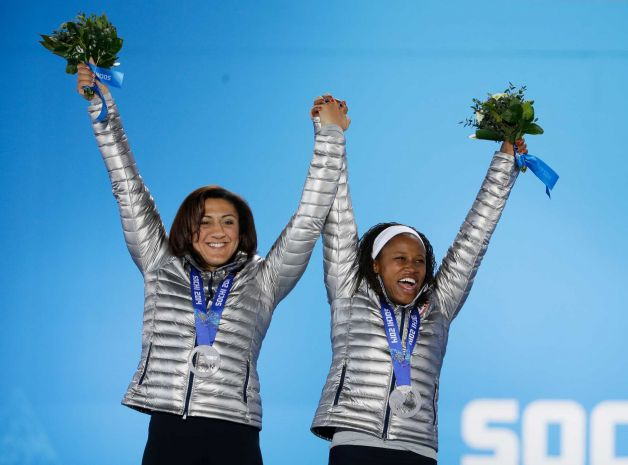 Elana Meyers and Lauryn Williams celebrate their silver medal win at Sochi Olympics. Image Credit: www.sfgate.com