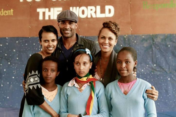 Founder of Ethiopia Children's Fund Anna Getaneh, The Kodjoes, and kids at the school. Image Credit: Boris Kodjoe Facebook Page