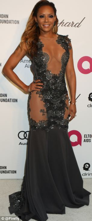 Mel B striking a pose at Elton John's AIDS Foundation party Oscar night. Image Courtesy: DailyMail