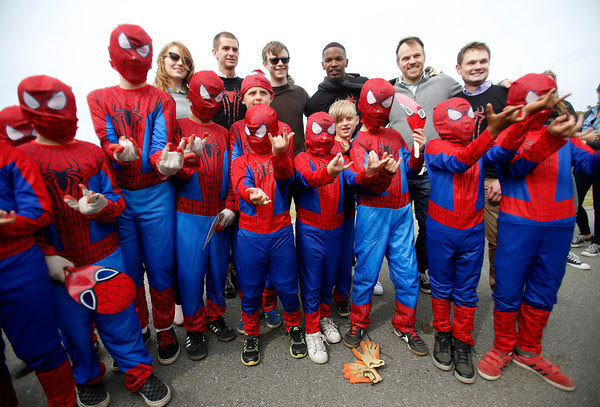 "Emma Stone, Andrew Garfield, Jamie Foxx and rest of ""Amazing Spiderman"" cast with lil spideys at the park.  Image Courtesy: Mercury News Photos"