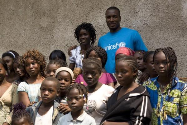Serge Ibaka with kids in Congo for UNICEF project. Image Courtesy: OKC Thunder