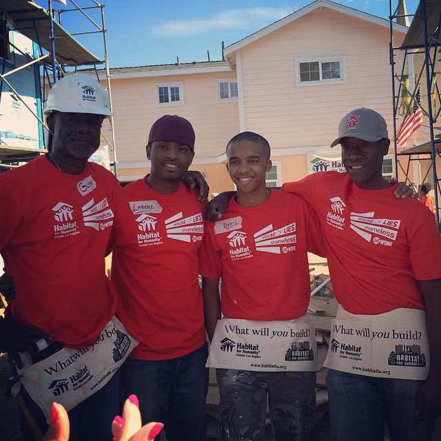 l to r Glynn Turman, Larenz Tate, Donis Jr. and Don Cheadle at the Habitat for L.A. build a house volunteer project. Image Courtesy: Instagram