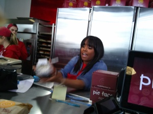 Keshia Knight Pulliam putting in work for the Pie Face challenge.