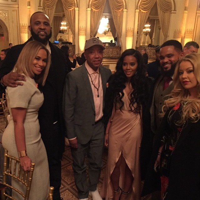 (l.to r.) C.C. and Amber Sabathia, Russell Simmons, Angela Simmons and guests attend the RUSH HeARTS Education Valentine's Luncheon today.