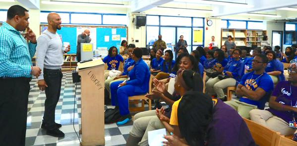 Common praising Dunbar Academy students for their good grades and attendance. Photo Courtesy: @ChiPubSchools Twitter