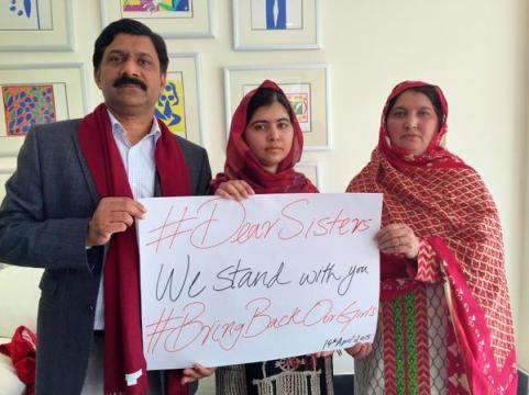 One year, 200 schoolgirls, never forget. Photo Credit: Malala Twitter