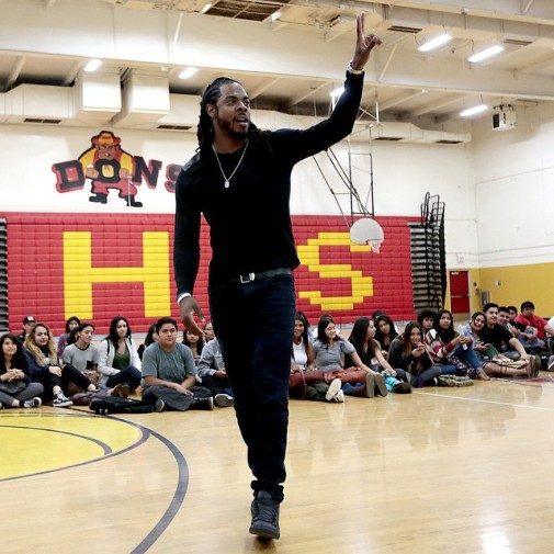Fresh off a brain buster of a Trig problem, Sherman is more comfortable in the gym. Image Photo: LA Times