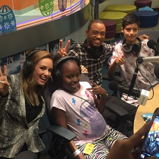 Rollin with the homies...Terrence J and Catt Sadler take advantage of the free radio perks at CHOC yesterday. Image Courtesy: Instagram